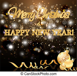 Holidays golden New Year greeting card, vector illustration