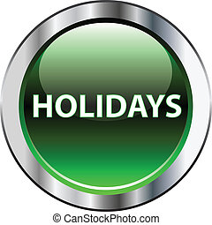 Holidays green button on white