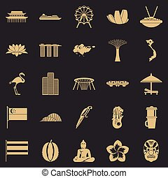 Holidays in Asia icons set, simple style