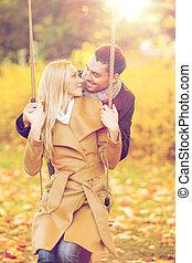romantic couple in the autumn park