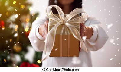 woman holding gift box on christmas