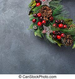 Advent christmas door wreath with festive decoration -...