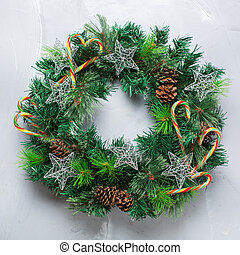 Advent christmas door wreath with festive decoration