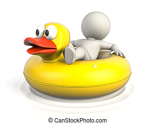 Holidays on a donut - A person lying on a donut pool float,...