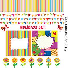 Holidays or party design elements set funny design