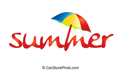 Word summer with red letters and colorful sunshade.