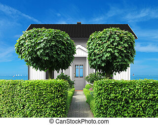 holidy, frontyard, mare, casa, bianco, vista
