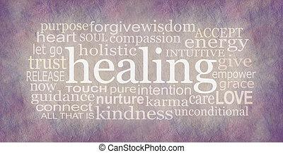 Holistic Healer's Healing Word Cloud Artwork Banner