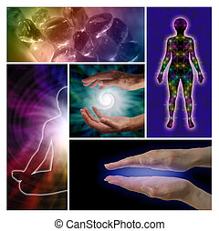 Five cropped holistic images showing healing hands, rainbow crystals, spiral, chakras and lotus position