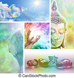 Five different aspects of holistic healing including Angels, crystals, Buddha, rainbows and the healer at the center