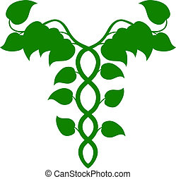Holistic Medicine Caduceus or DNA c - Illustration of a...