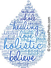 Holistic word cloud on a white background.