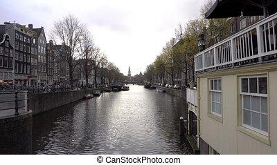holland, bicikli, láncra vert, felett, a, csatornák