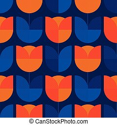 Holland blue and orange tulip flower tile pattern