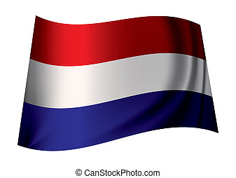 Holland flag - dutch flag flying in the wind or icon from...