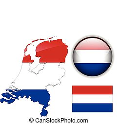Holland flag, map and glossy button - Holland, Netherlands...