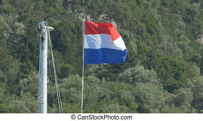 Holland Flag on Mast - Netherlands flag on ship mast.