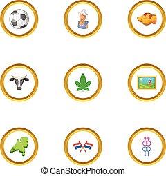 Holland icons set, cartoon style