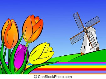 Holland illustration - An illustration of windmill and tulip...