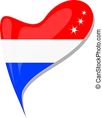 holland in heart. Icon of holland national flag isolated on a white background