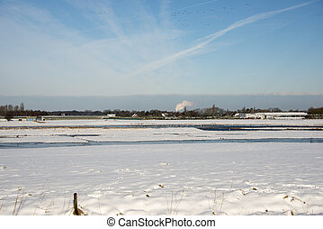 holland, landskap, vinter