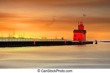 Light house in Holland Michigan with evening sky background