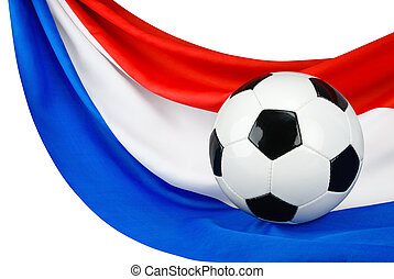 Holland loves football - Soccer ball on a Dutch flag hanging...