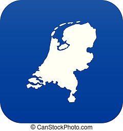 Holland map icon digital blue