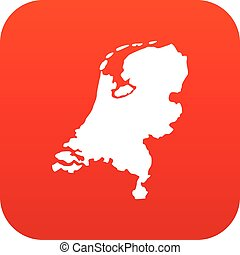 Holland map icon digital red