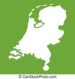 Holland map icon green - Holland map icon white isolated on...