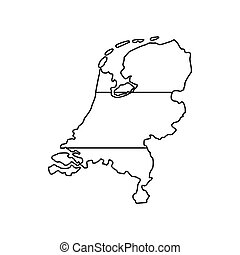 Holland map icon, outline style