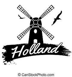 Holland poster - Holland in vitage style poster, vector...