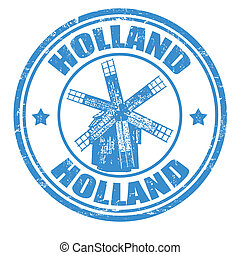 Holland stamp - Grunge rubber stamp with windmill and the...