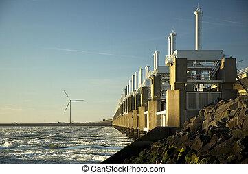 holland., storm, zeeland, barrière, golf