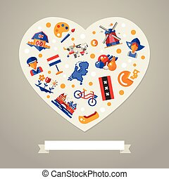 Holland travel heart postcard with famous Dutch symbols