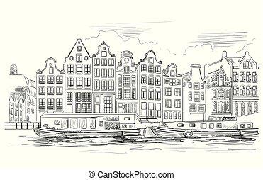 holland, vektor, teckning, 7, hand