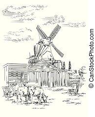 holland, vektor, teckning, hand, 1