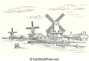holland, vektor, teckning, hand, 2