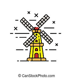 Holland windmill line icon