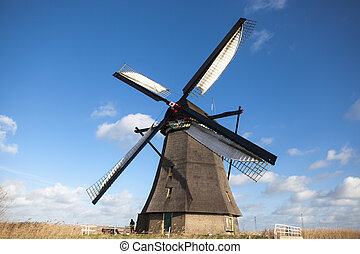 Holland windmill. Old mill chalk and flour