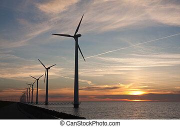 hollandais, mer, windturbines, pendant, a, beau, coucher soleil