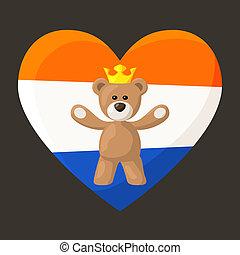 hollandais, ours peluche, royal