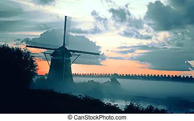 hollandais, paysage, matin