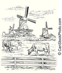 hollande, vecteur, 8, dessin, main