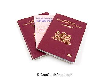 hollandse, bestuurders, vergunning, en, paspoort