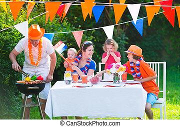 hollandse, gezin, hebben, grill, feestje
