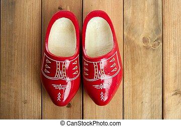 hollandse, holland, rood, houten schoenen, op, hout