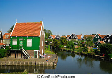 hollandse, huisen, in, marken