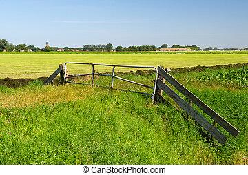 hollandse, landscape, in, groningen