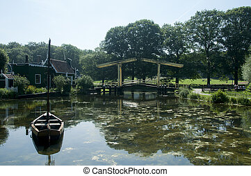 hollandse, landscape, met, scheepje, water, en, brug